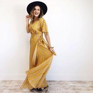 Wishlist Yellow Wrap Maxi Dress, L